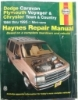 Haynes Dodge Caravan Plymouth Voyager and Chrysler Town & Country Automotive Repair Manual $4.95