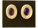 Amethyst on Gold Clip On Earrings $4.95