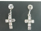 Rhinestone Cross Screw Back Earrings $9.95
