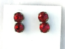 Vintage Ruby and Sterling Silver Screw Back Earrings $9.95