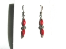 Native American Coral Linear Drop Hook Earrings $9.95
