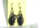 Vintage Silver & Black Onyx Hook Earrings $14.95
