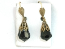 West German Onyx Teardrop Hook Earrings $14.95