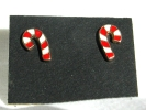 Candy Cane Stud Post Earrings $3.95