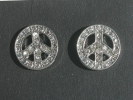 Rhinestone Peace Post Earrings $4.95