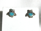 Silver and Turquoise Owl Post Earrings $6.95