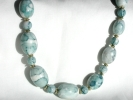 Blue Marbled Bead Fashion Necklace $9.95
