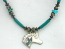 Abalone and Silver Horse Head Pendant Necklace $9.95