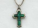 Silver Amalite Cross Pendant Necklace $19.95