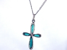 Silver and Blue Cross Pendant Necklace $8.95