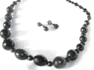 Black Faceted Bead Fashion Necklace and Earring Set $4.95