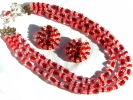 Red Bead 3 Strand Necklace and Earring Set $7.95