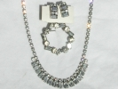 Rhinestone Necklace, Broach and Earring Set $14.95